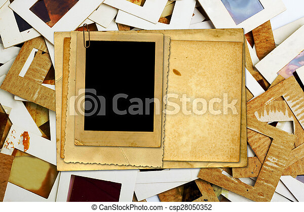 set of old slides photos and film on the table