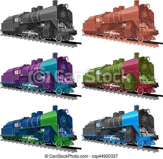 Set of old steam locomotive