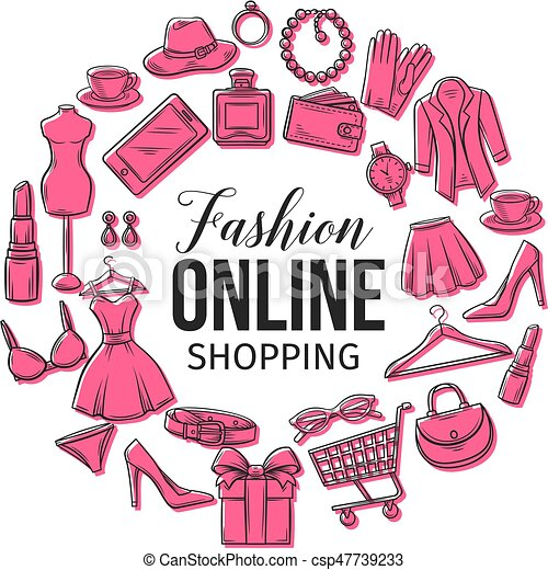 Vector Hand Drawn Set Of Online Fashion Shopping Icons Symbols And