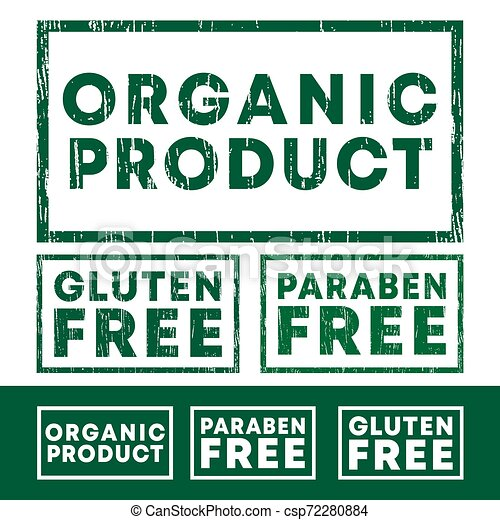 Set of Organic product, Gluten and Paraben free stamp with grunge texture and clear design - csp72280884