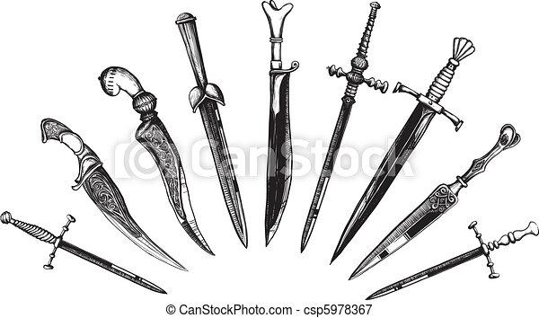 Set of Oriental and European Daggers - csp5978367