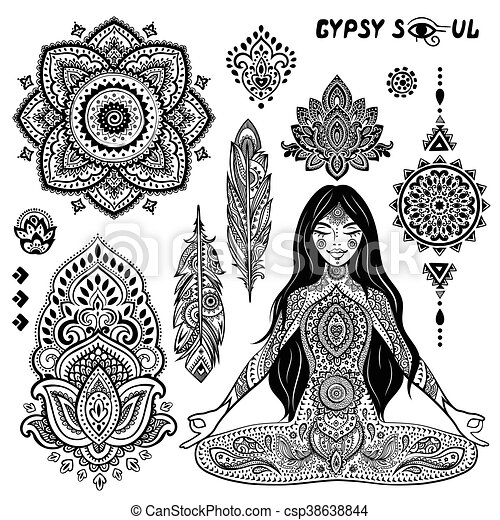 Set Of Ornamental Bohemian Symbols Set Of Ornamental Indian Eps