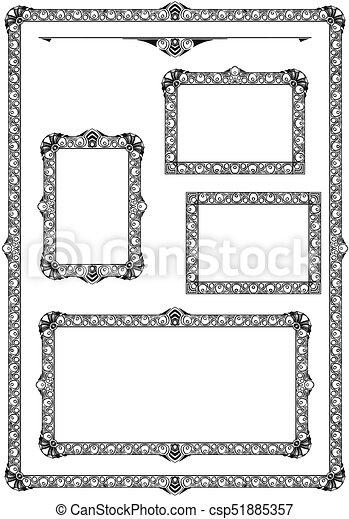 Set of ornamental frames. Set of various artistic ornamental frame ...