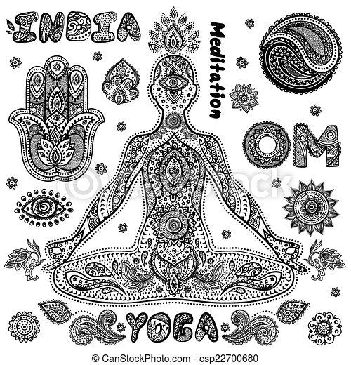Set Of Ornamental Indian Symbols Set Of Ornamental Indian