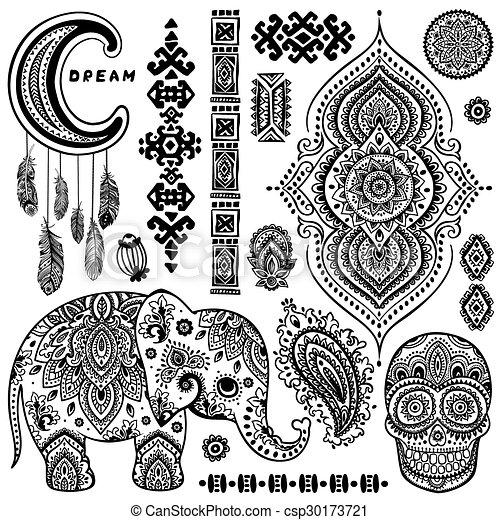 Set Of Ornamental Indian Symbolshnic Elephant Set Of Vector