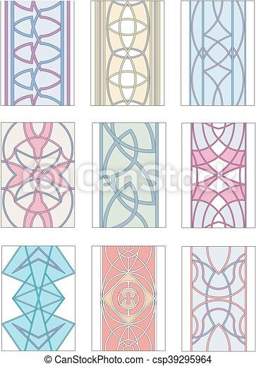 Set of ornamental patterns in mannerism style - csp39295964