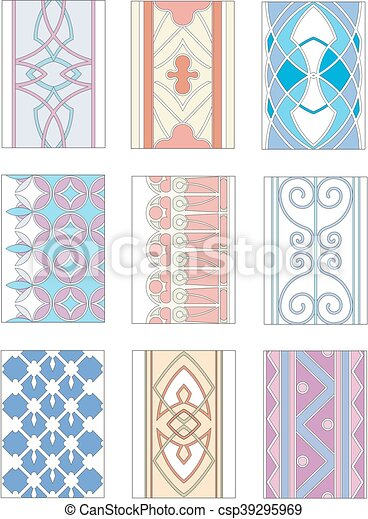 Set of ornamental patterns in mannerism style - csp39295969