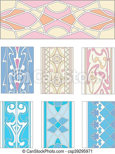 Set of ornamental patterns in mannerism style - csp39295971