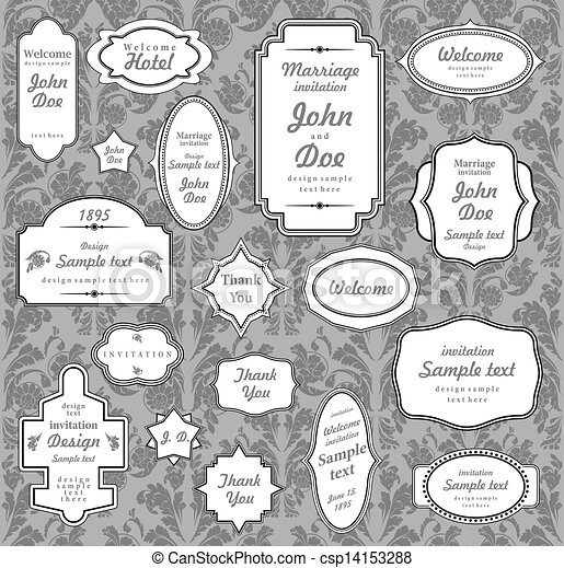 Set of ornate vector frames and ornaments with sample text. Perfect collection for invitation. - csp14153288