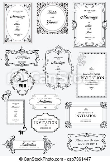 Set of ornate vector frames and or - csp7361447
