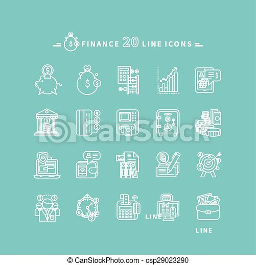 Set of Outline Finance Icons - csp29023290
