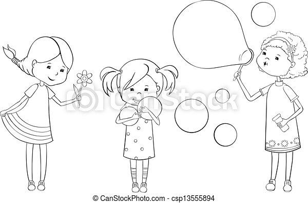 Set of outline girls - csp13555894