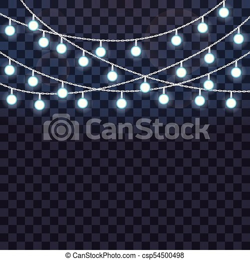 Set Of Overlapping Glowing String Lights On A Transparent Background Vector Illustration