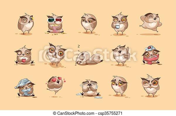 Set of Owls - csp35755271