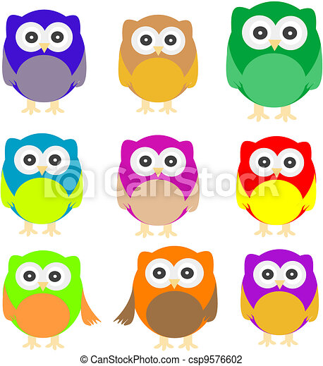 set of Owls isolated on white - csp9576602
