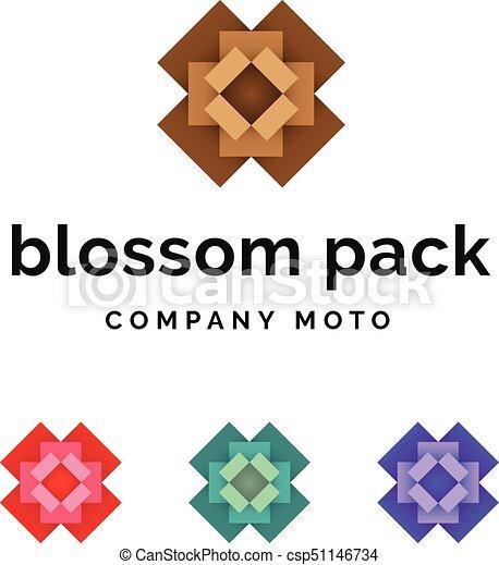 Set of packaging blossom logo identity - csp51146734