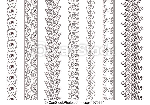 Set Of Paisley Hand Drawn Henna Tattoo Borders Set Of Hand Drawn