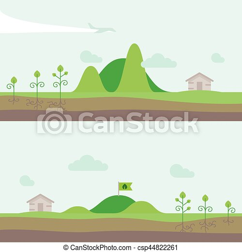 Set of panorama natural landscape with hills, garden and house village. Vector illustration in flat style. - csp44822261