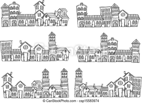 set of panoramic city doodle - csp15583974