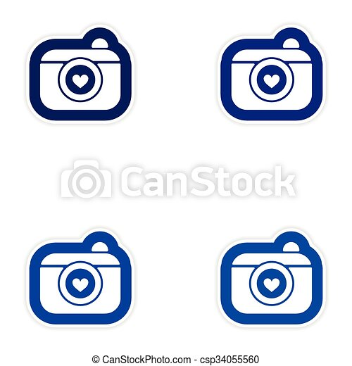 set of paper stickers on white background wedding camera clip art rh canstockphoto com travel stickers clipart clipart stickers free