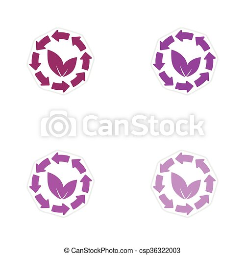 Set of paper stickers on white background arrow leaves  - csp36322003