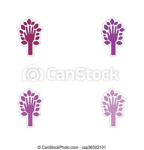 Set of paper stickers on white background leaves hand  - csp36322101