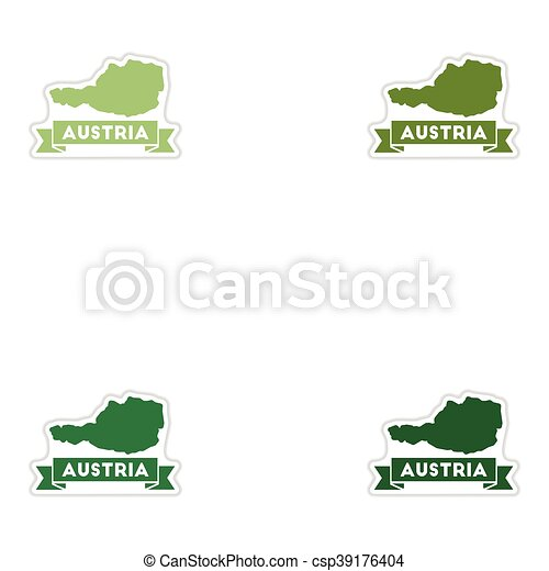 Set of paper stickers on white background map of Austria - csp39176404