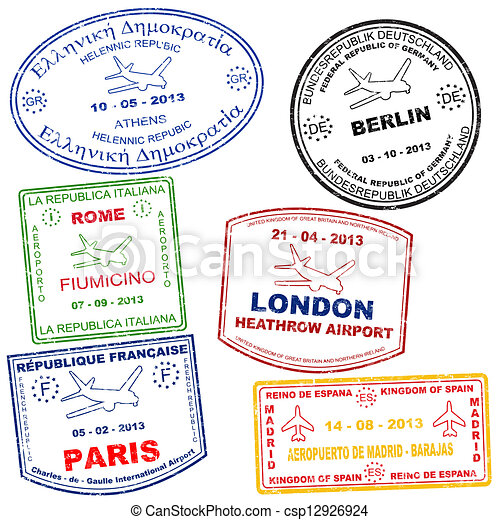 set of passport stamps passport grunge stamps from athens rome rh canstockphoto com passport stamp clipart free italian passport stamps clipart