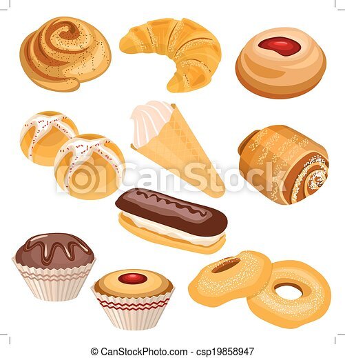 Set of pastry isolated on white - csp19858947
