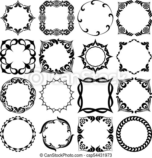 Set of pattern graphic frames. black and white.