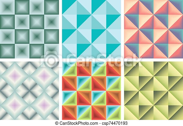 Set of pattern of triangles and squares - csp74470193