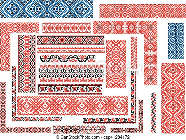 Set Of Patterns For Embroidery Stitch Set Of Editable Seamless