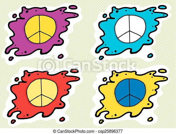Set Of Peace Symbols Series Of Cartoon Peace Symbols In Different