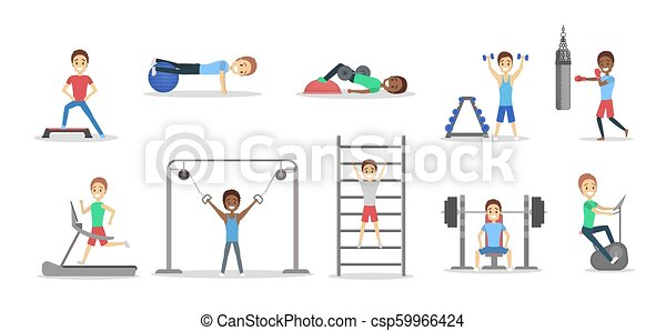Set of people doing exercises in the gym - csp59966424