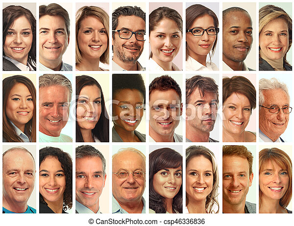 set of people faces set of smiling face collection people group