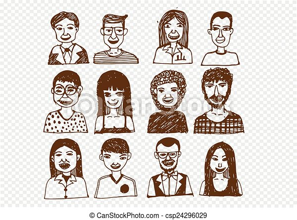 set of people icons faces. women, men character vector illustration