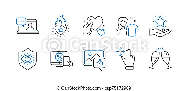 Set of People icons, such as Like photo, Clean shirt, Friends chat. Vector - csp75172909