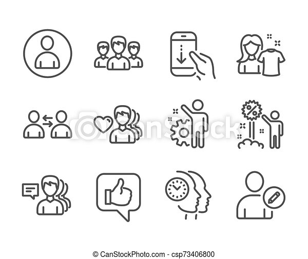 Set of People icons, such as Time management, Group, People. Vector - csp73406800