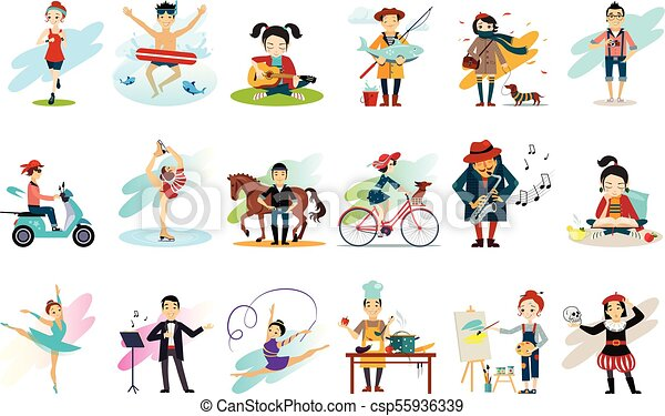 Set of people in various actions. Males and females engaged in their favorite hobbies. Active and healthy lifestyle. Cartoon characters. Colorful flat vector design - csp55936339