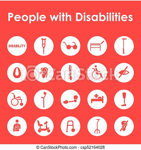 Set of people with disabilities simple icons - csp52164028