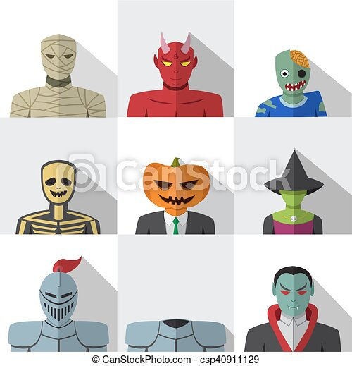 Costume Halloween 911.Set Of People With Halloween Costume In Flat Icons