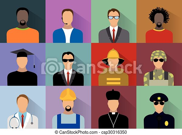 Line Art Uniform : Set of people workers in uniform icons flat style with clipart