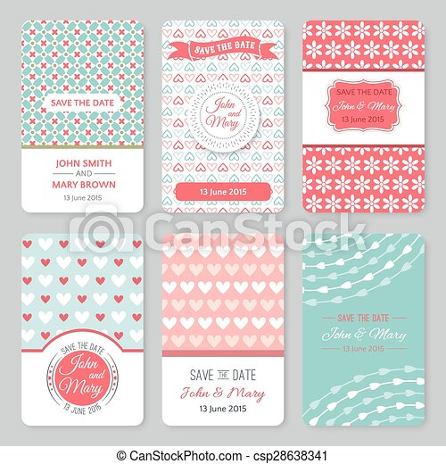 Set Of Perfect Wedding Templates With Pattern Theme Ideal For Save