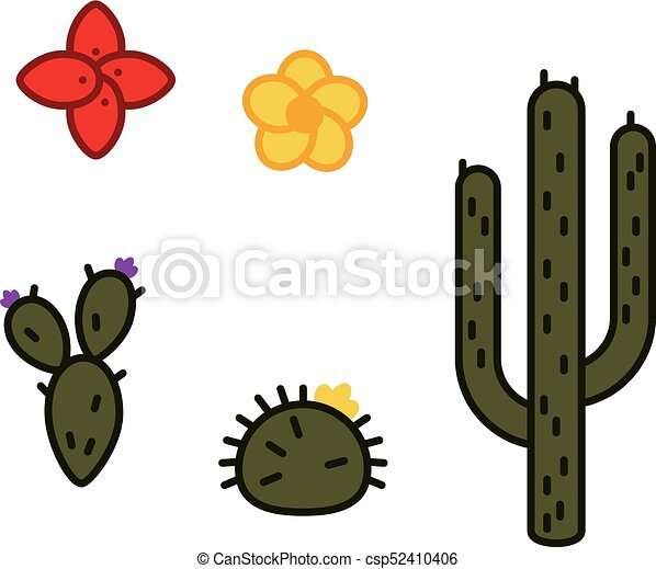 set of peruvian cactus and flowers line art minimal style rh canstockphoto com cactus illustration vector cactus illustration vector