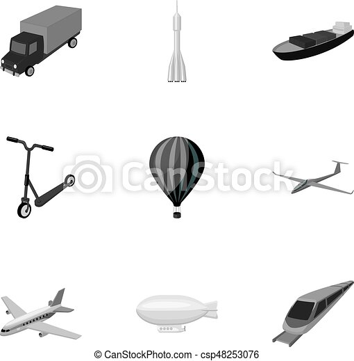 Set of pictures about types of transport  Transportation of people, cargo   Ground, underwater, air transport  Transport icon in set collection on