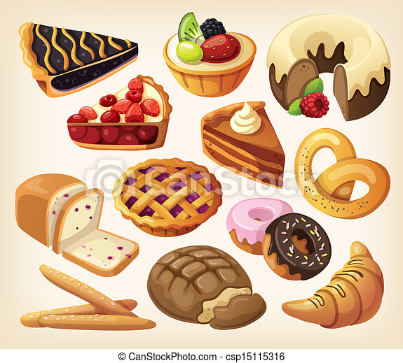Set of pies and flour products - csp15115316