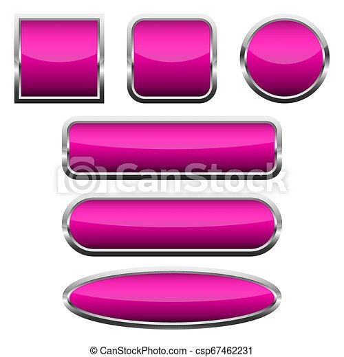 Set of pink glossy buttons. Vector illustration. - csp67462231