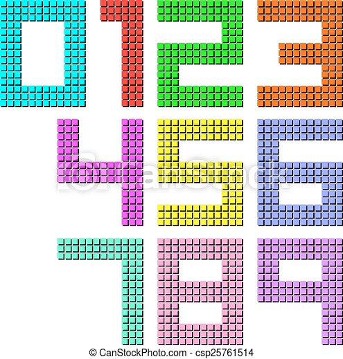 Set Of Pixel Digit Numbers Vector