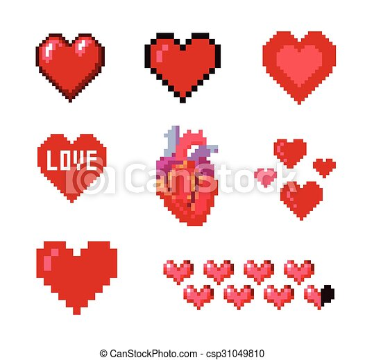 Set of pixel hearts - csp31049810