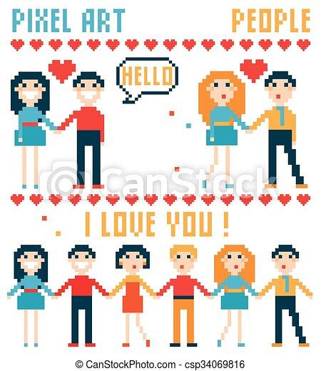 Set of pixel people, words, hearts. - csp34069816